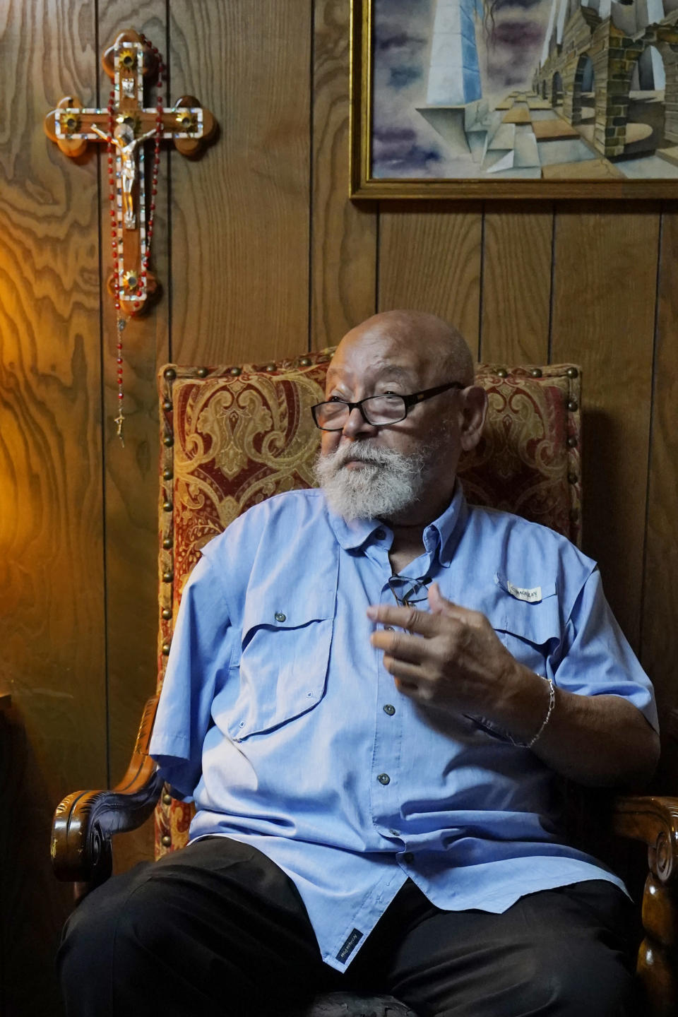 """James Goodwin, owner of the Oklahoma Eagle newspaper, speaks during an interview Wednesday, April 14, 2021, in Tulsa, Okla. """"Greenwood proved that if you had assets, you could accumulate wealth. ... It was not a matter of intelligence, that the Black man was inferior to white men. It disproved the whole idea that racial superiority was a fact of life."""" The Black newspaper was established in Tulsa a year after the massacre. (AP Photo/Sue Ogrocki)"""