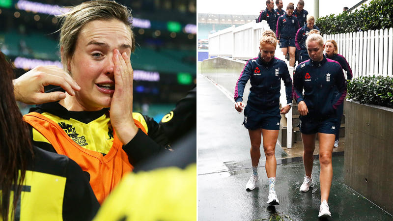 Ellyse Perry and England players, pictured here during the World Cup semi-finals.