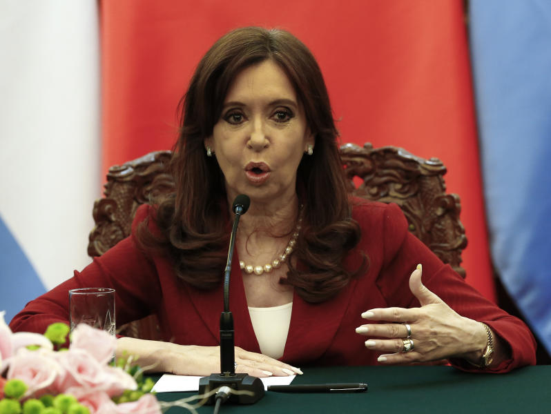 Argentinian President Cristina Fernandez de Kirchner delivers a statement at the Great Hall of the People in Beijing on February 4, 2015 (AFP Photo/Rolex Dela Pena)