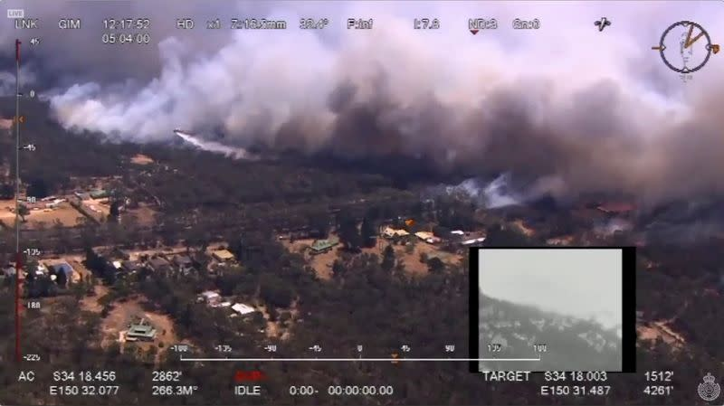 Aerial view shows the Green Wattle Creek fire crossed the railway line near Balmoral, in Wollondilly, New South Wales