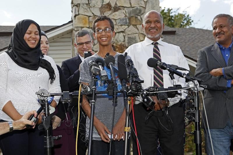 Irving police chief Larry Boyd insisted that the ethnicity of Ahmed Mohamed, pictured (C) with his family, had nothing to do with the response which saw him taken from school in cuffs (AFP Photo/Ben Torres)
