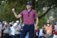 Carlos Ortiz reacts after making birdie on the 18th hole and winning the Houston Open golf tournament, Sunday, Nov. 8, 2020, in Houston. (AP Photo/Eric Christian Smith)