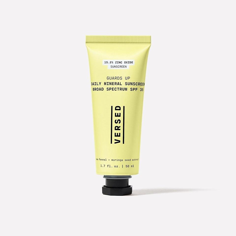 "<p>Versed Guards Up Daily Mineral Sunscreen Broad Spectrum SPF 35<br> ""I'm always on the hunt for new sunscreen formulas that plays well under my everyday CC cream and when the <a href=""https://www.popsugar.com/buy/Versed-Guards-Up-Daily-Mineral-Sunscreen-Broad-Spectrum-SPF-35-578699?p_name=Versed%20Guards%20Up%20Daily%20Mineral%20Sunscreen%20Broad%20Spectrum%20SPF%2035&retailer=versedskin.com&pid=578699&price=22&evar1=bella%3Aus&evar9=47519595&evar98=https%3A%2F%2Fwww.popsugar.com%2Fbeauty%2Fphoto-gallery%2F47519595%2Fimage%2F47519643%2FVersed-Guards-Up-Daily-Mineral-Sunscreen-Broad-Spectrum-SPF-35&list1=must%20haves%2Ceditors%20pick%2Cskin%20care&prop13=mobile&pdata=1"" class=""link rapid-noclick-resp"" rel=""nofollow noopener"" target=""_blank"" data-ylk=""slk:Versed Guards Up Daily Mineral Sunscreen Broad Spectrum SPF 35"">Versed Guards Up Daily Mineral Sunscreen Broad Spectrum SPF 35</a> ($22) landed in my mailbox, I was excited to give it a try (even if I <em>am</em> spending most of my time at home these days). This lightweight formula is infused with sea fennel and moringa seed extract for a super silky-to-the-touch finish that glides on like butter. I love that it doesn't make my skin look too dewy or overly matte, and my CC cream sits nicely overtop without any pilling or fuss. It's become a staple in my purse during any socially-distant activities inside and out."" - AMK</p>"