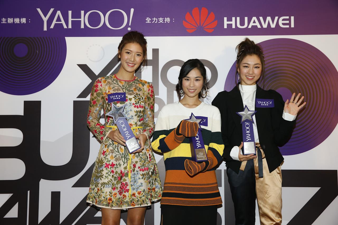 <p>Jennifer Yu, Sophy Wong and Cherry Ngan with their Top Buzz New Singer awards at the Yahoo Asia Buzz Awards 2017 in Hong Kong on Wednesday (6 December).</p>