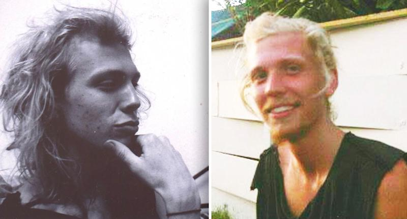 Max Castor pictured in two pictures, the first a black and white side profile showing his long hair and the second, a colour photo of Max smiling with stubble in a singlet.