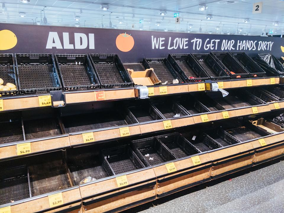 MELBOURNE, AUSTRALIA - JULY 8, 2020: As Melbourne shuts down for a second time, empty fruit and vegetable shelves become common in Australian supermarkets. This is due to the rapid rises in cases of Coronavirus or COVID-19.- PHOTOGRAPH BY Chris Putnam / Barcroft Studios / Future Publishing (Photo credit should read Chris Putnam/Barcroft Media via Getty Images)
