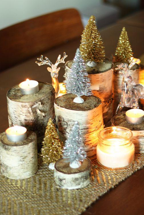 "<p>Bring a winter landscape to your Christmas tablescape—add votive candles to slabs of birch for a simple but stunning centerpiece. Get the tutorial at <a href=""http://thesweetescape.ca/2013/12/holiday-diy-naturally-glamorous-holiday-centrepiece.html"" rel=""nofollow noopener"" target=""_blank"" data-ylk=""slk:The Sweet Escape"" class=""link rapid-noclick-resp"">The Sweet Escape</a>.</p>"