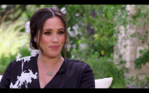 """<p>For her <a href=""""https://www.elle.com/uk/life-and-culture/a35516578/meghan-markle-oprah-interview/"""" rel=""""nofollow noopener"""" target=""""_blank"""" data-ylk=""""slk:bombshell interview with Oprah Winfrey"""" class=""""link rapid-noclick-resp"""">bombshell interview with Oprah Winfrey</a>, the Duchess of Sussex paired her Giorgio Armani dress with a simple pendant necklace.</p><p>The 18kt gold and aquamarine piece by Pippa Small, that retails at £1,800, holds a special meaning according to the brand, who say it: 'inspires courage and confidence, comfort and safety when it's worn around our neck.'</p><p>Something that Markle no doubt needed during the lengthy interview.</p><p><a class=""""link rapid-noclick-resp"""" href=""""https://pippasmall.com/product/18kt-gold-and-triple-aquamarine-collette-set-necklace/"""" rel=""""nofollow noopener"""" target=""""_blank"""" data-ylk=""""slk:SHOP MEGHAN'S NECKLACE NOW"""">SHOP MEGHAN'S NECKLACE NOW</a></p>"""
