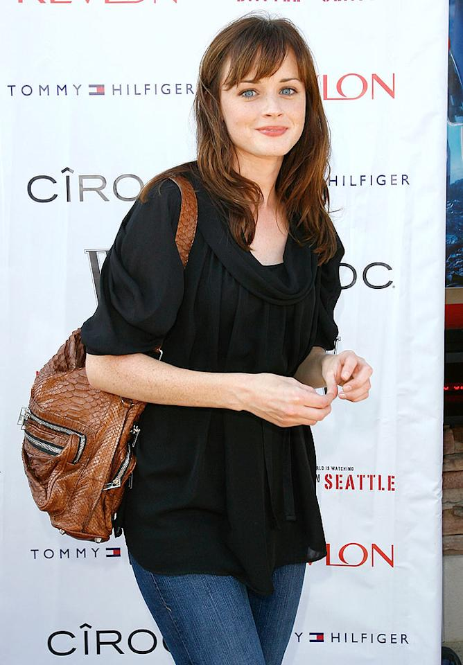 """A fresh-faced Alexis Bledel is cute as can be in jeans and a simple black top. A fabulous leather bag completes her casual California look. Donato Sardella/<a href=""""http://www.wireimage.com"""" target=""""new"""">WireImage.com</a> - June 29, 2008"""