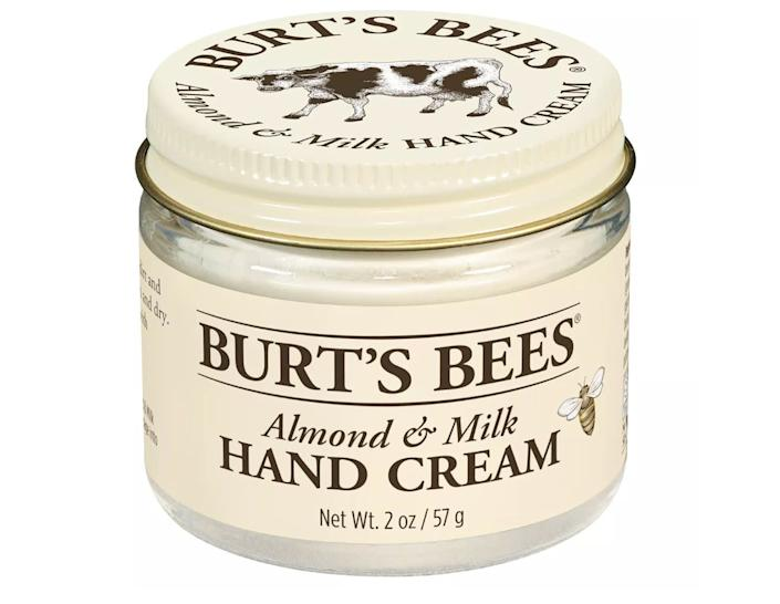 "Burt's Bees has been one of my favorite brands for years. I use the brand's Micellar Makeup Removing Wipes religiously. When I first tried this cream a while back, I wasn't sure what I thought of it, since it was much thicker than the hand creams I usually go for. But I've actually found that <a href=""https://fave.co/2vdYzrn"" rel=""nofollow noopener"" target=""_blank"" data-ylk=""slk:it's best to put on as a before-bed ritual"" class=""link rapid-noclick-resp"">it's best to put on as a before-bed ritual</a>. I wake up with my hands feeling so smooth. It doesn't have a strong scent, either, which I prefer. While Darphin takes the cake for hand creams, this hand cream is <a href=""https://fave.co/2vdYzrn"" rel=""nofollow noopener"" target=""_blank"" data-ylk=""slk:a close and much more affordable second"" class=""link rapid-noclick-resp"">a close and much more affordable second</a>.<strong> &mdash;&nbsp;Pardilla&nbsp;</strong><br><a href=""https://fave.co/2vdYzrn"" rel=""nofollow noopener"" target=""_blank"" data-ylk=""slk:Find&nbsp;Burt's Bees Almond and Milk Hand Cream for $9 at Target"" class=""link rapid-noclick-resp""><br>Find&nbsp;Burt's Bees Almond and Milk Hand Cream for $9 at Target</a>"
