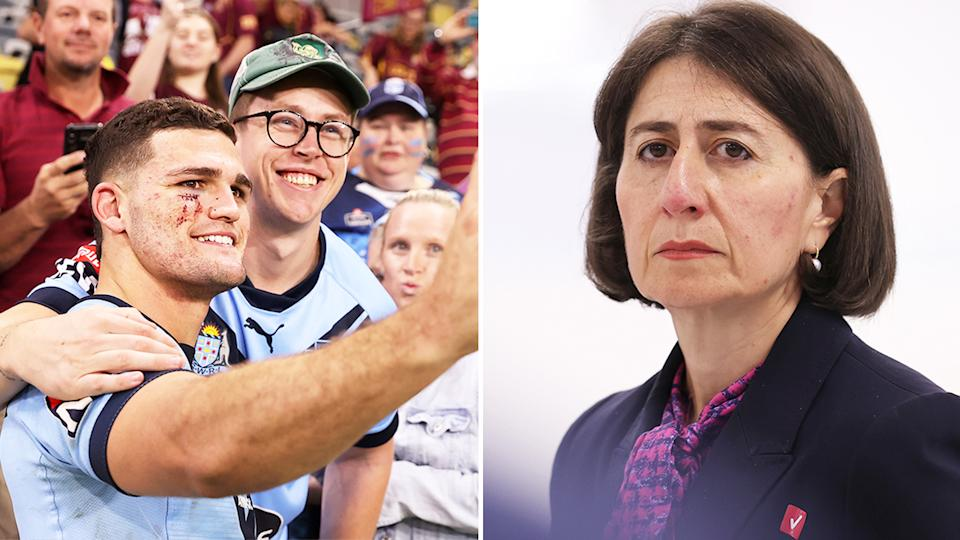 NSW Premier Gladys Berejiklian (pictured right) before a press conference and (pictured left) Nathan Cleary taking a photo with a fan.