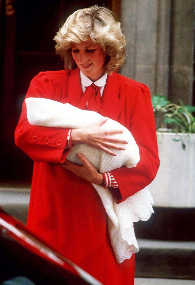 Princess Diana leaving the hospital with Prince Harry in 1984.