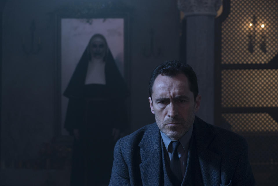 """This image released by Warner Bros. Pictures shows Demian Bichir in a scene from """"The Nun."""" (Cos Aelenei/Warner Bros. Pictures via AP)"""