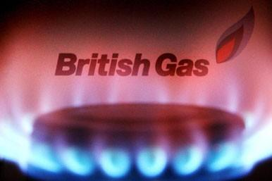 British Gas bill behind flame