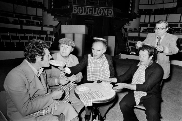 From left Italian actor Marcello Mastroianni, French actors Philippe Noiret and Michel Piccoli, Italian actor Ugo Tognazzi and French director Claude Chabrol in rehearsal at the Cirque d'Hiver (Winter Circus) in Paris, April 27, 1973