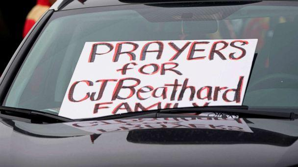 PHOTO: A sign for San Francisco 49ers quarterback C.J. Beathard is shown on a parked car at Levi's Stadium before an NFL football game between the 49ers and the Los Angeles Rams in Santa Clara, Calif., Dec. 21, 2019. (Tony Avelar/AP)