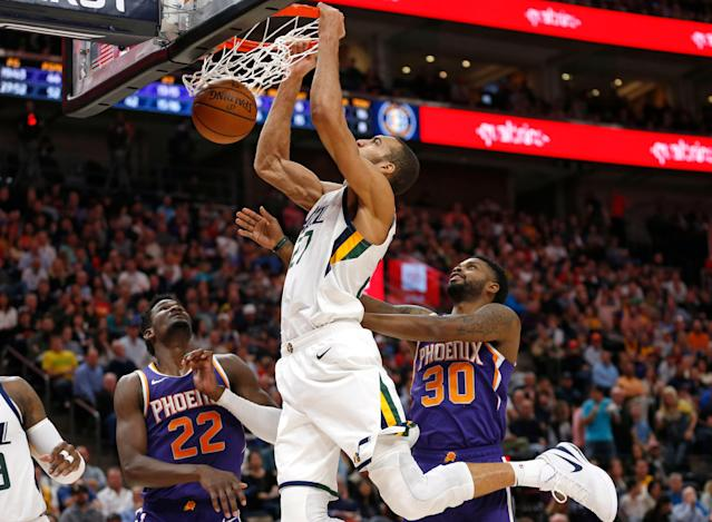 Rudy Gobert is your new dunk king, at least as far as this millennium goes. (AP Photo/Rick Bowmer)