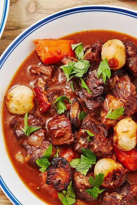 """<p>If you do it right, homemade beef bourguignon is a labour of love. It's certainly not a quick weeknight dinner. BUT, that doesn't mean it's hard.</p><p>Get the <a href=""""https://www.delish.com/uk/cooking/recipes/a34569497/beef-bourguignon-recipe/"""" rel=""""nofollow noopener"""" target=""""_blank"""" data-ylk=""""slk:Beef Bourguignon"""" class=""""link rapid-noclick-resp"""">Beef Bourguignon</a> recipe.</p>"""