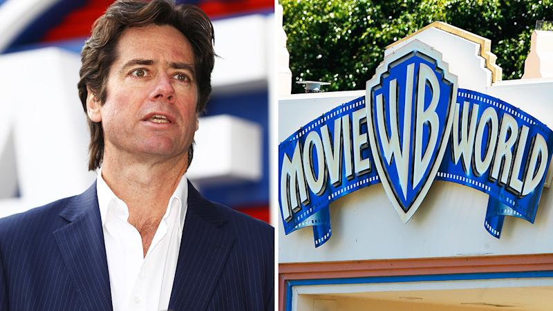 A 50-50 split image shows AFL CEO Gillon McLachlan on the left and the entrance of Warner Bros Movie World on the right.