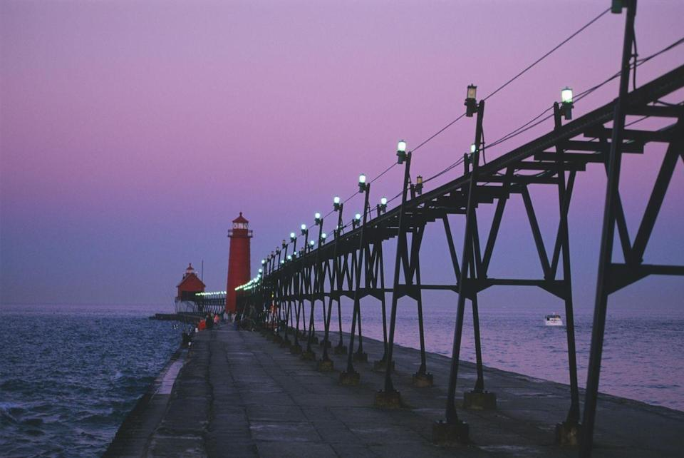 <p>Located on the Eastern shore of Lake Michigan and the mouth of the Grand River is this appropriately named town, which offers wine tasting, sand dune riding and an annual Coast Guard Festival at the end of every summer.</p>
