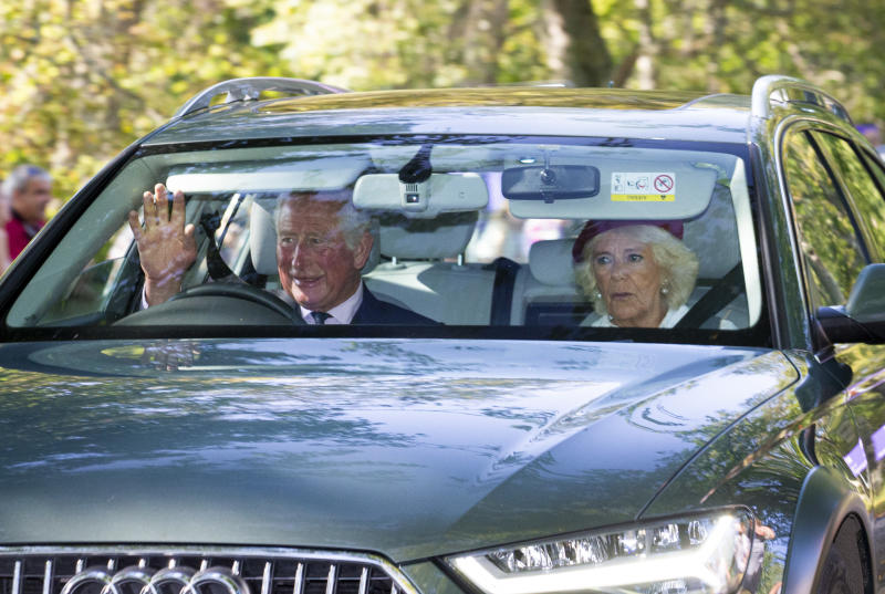CRATHIE, ABERDEENSHIRE - AUGUST 25: Prince Charles, Prince of Wales and Camilla Duchess of Cornwall drive to Crathie Kirk Church before the service on August 25, 2019 in Crathie, Aberdeenshire. Queen Victoria began worshiping at the church in 1848 and every British monarch since has worshiped there while staying at nearby Balmoral Castle (Photo by Duncan McGlynn/Getty Images)