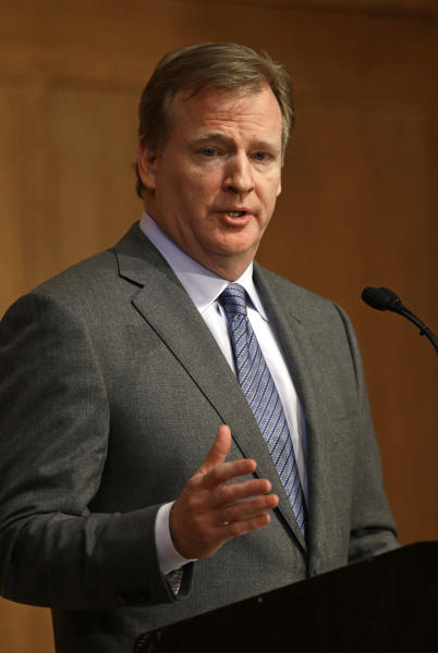 NFL Commissioner Roger Goodell delivers the Department of Exercise and Sport Science's annual Carl Blyth Lecture at the University of North Carolina at Chapel Hill, N.C., Wednesday, March 6, 2013.(AP Photo/Gerry Broome)