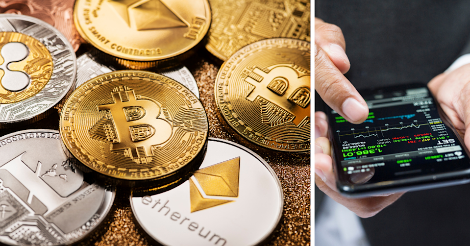 Cryptocurrency coins and a hand holding a phone looking at investments