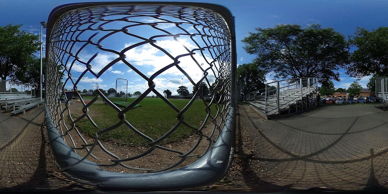 <p>This 360 degree picture was photographed from behind home plate near the position where gunman James Hodgkinson opened fire at the Eugene Simpson Stadium Park, seriously wounding House Majority Whip Rep. Steve Scalise, June 19, 2017 in Alexandria, Va. Investigators have concluded their investigation at the shooting scene and the area has been reopened to the public. (Photo: Alex Wong/Getty Images) </p>