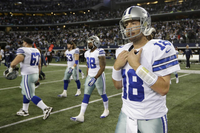 Dallas Cowboys quarterback Kyle Orton (18) leaves the field after a 22-24 loss to the Philadelphia Eagles at an NFL football game, Sunday, Dec. 29, 2013, in Arlington, Texas. (AP Photo/Tim Sharp)