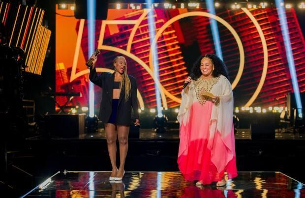 Jully Black, left, and Liberty Silver present at the 50th annual Juno Awards, June 6, 2021. Rapper The Weeknd won big on the final night of the awards, though didn't make an appearance.   (CARAS - image credit)