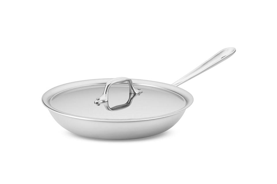 """$160, Williams-Sonoma. <a href=""""https://www.williams-sonoma.com/products/all-clad-tri-ply-stainless-steel-traditional-cover-fry-pan/?clickid=yLV117WbAxyOT1NwUx0Mo38VUkE0PPRKk1cN0A0&irgwc=1&cm_cat=10078&cm_ven=afshoppromo&bnrid=3917500&cm_ite=thewirecutter.com&cm_pla=ir&irpid=10078"""" rel=""""nofollow noopener"""" target=""""_blank"""" data-ylk=""""slk:Get it now!"""" class=""""link rapid-noclick-resp"""">Get it now!</a>"""