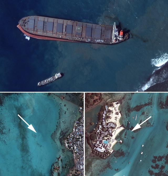 Satellite imagery on Wednesday showed booms placed along shorelines (arrows) to protect them from oil