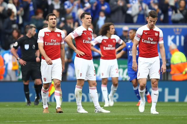 Arsenal suffered more away day heartbreak after going down 3-0 at Leicester (Photo by Julian Finney/Getty Images)