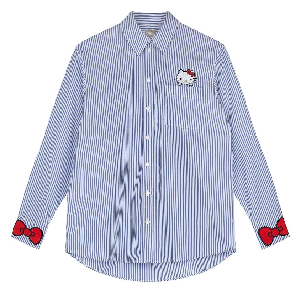 """<p><a rel=""""nofollow noopener"""" href=""""http://www.asos.com/asos/hello-kitty-x-asos-stripe-shirt-with-pocket-and-cuff-embroidery/prd/8615343?"""" target=""""_blank"""" data-ylk=""""slk:Hello Kitty X ASOS Stripe Shirt With Pocket And Cuff Embroidery, £45"""" class=""""link rapid-noclick-resp"""">Hello Kitty X ASOS Stripe Shirt With Pocket And Cuff Embroidery, £45</a></p>"""