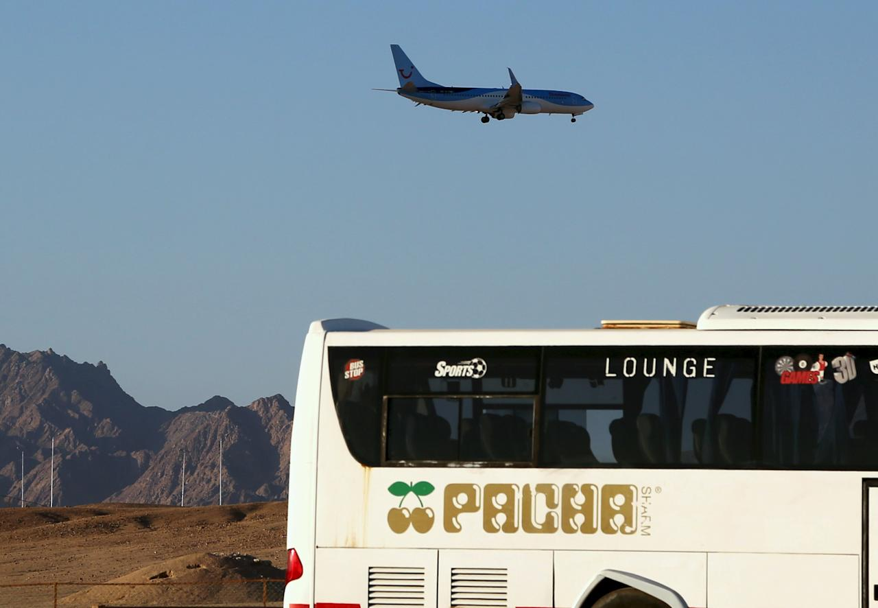 A plane operated by Metrojet lands at the airport of the Red Sea resort of Sharm el-Sheikh, Egypt November 12, 2015. British and Russian planes arrive empty at Sharm al-Sheikh daily to bring back tourists after both countries suspended flights into the Red Sea resort. REUTERS/Asmaa Waguih