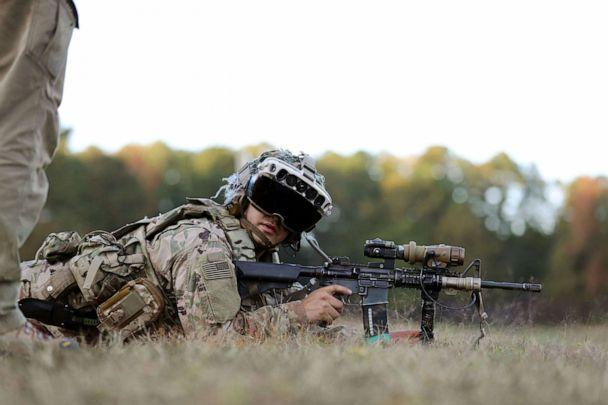PHOTO: A soldiers from the 82nd Airborne Division uses the latest prototype of the Integrated Visual Augmentation System (IVAS) during training at Fort Pickett, Va. (Courtney Bacon/Soldier Lethality CFT)