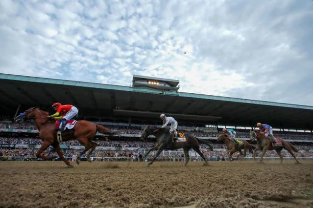 Justify with jockey Mike Smith aboard wins the 150th running of the Belmont Stakes at Belmont Park in Elmont