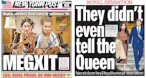 Newspaper reaction to Prince Harry and Meghan Markle stepping down from royal family