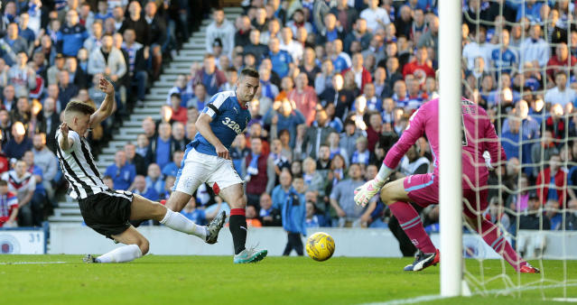 Football - Rangers v St Mirren - Ladbrokes Scottish Championship - Ibrox Stadium - 7/8/15 Rangers' Lee Wallace (2nd L) scores their second goal Action Images via Reuters / Graham Stuart Livepic EDITORIAL USE ONLY.
