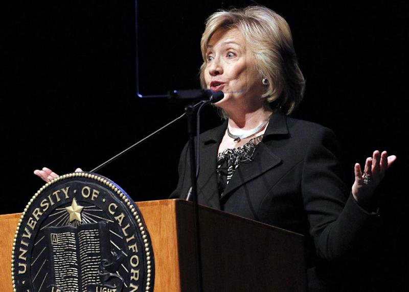 Former Secretary of State Hillary Rodham Clinton, uses a teleprompter as she speaks to students at the University of California Los Angeles, UCLA campus on the subject of leadership in Los Angeles Wednesday, March 5, 2014. (AP Photo/Nick Ut)