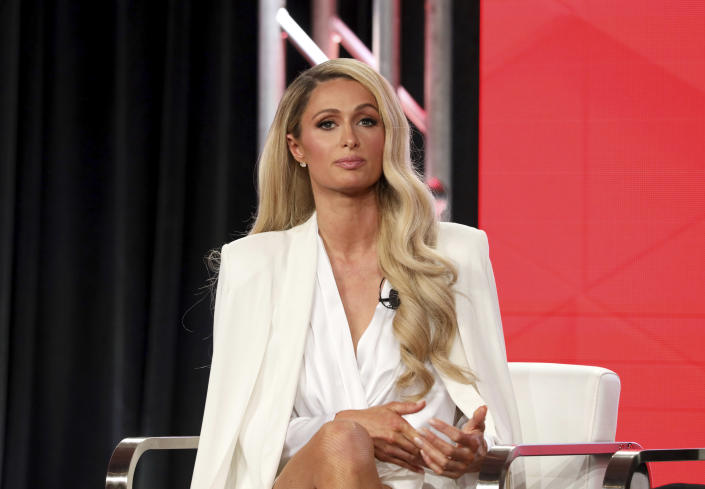 """Paris Hilton speaks at the """"Untitled Paris Hilton Documentary"""" panel during the YouTube TCA 2020 Winter Press Tour at the Langham Huntington, Saturday, Jan. 18, 2020, in Pasadena, Calif. (Photo by Willy Sanjuan/Invision/AP)"""