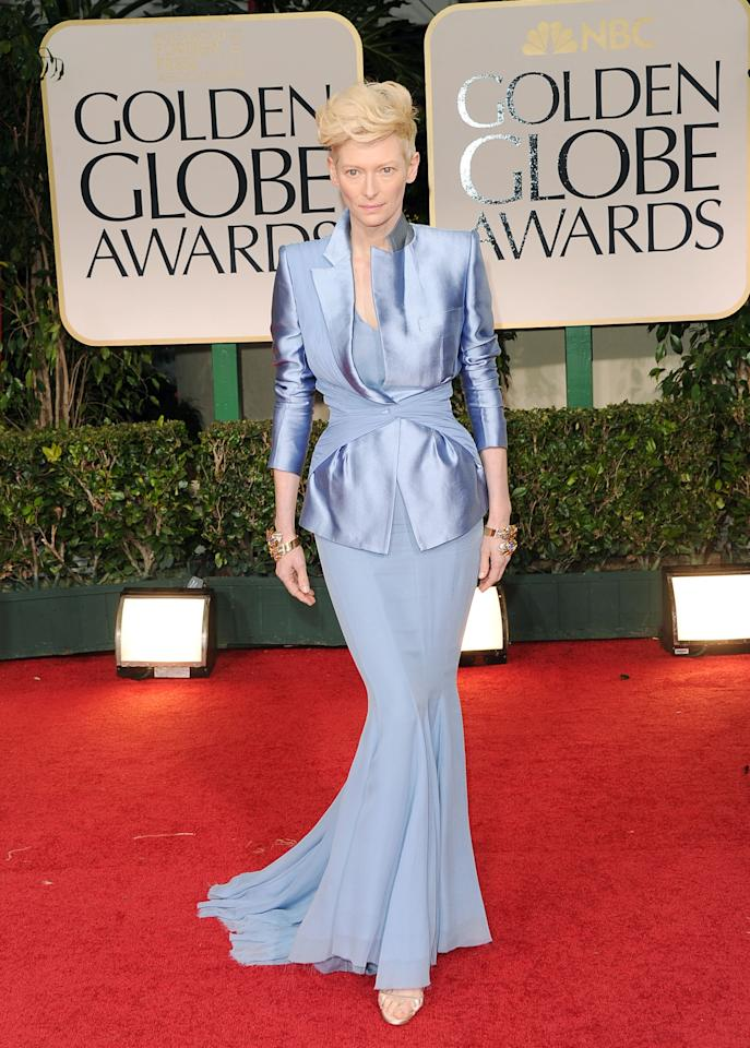 BEVERLY HILLS, CA - JANUARY 15:  Actress Tilda Swinton arrives at the 69th Annual Golden Globe Awards held at the Beverly Hilton Hotel on January 15, 2012 in Beverly Hills, California.  (Photo by Jason Merritt/Getty Images)