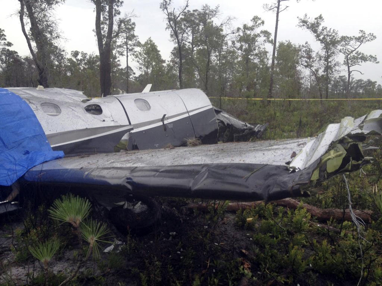 This photo provided by the Polk County Sheriff's Office shows the wreckage of a Pilatus PC-12 single-engine turboprop passenger plane that crashed near Lake Weohyakapka, aka Lake Walk In the Water, in southeast Polk County, Fla. on Thursday, June 7, 2012. Ronald Bramlage, 45, of Junction City, Kan., who was piloting the plane, his wife Rebecca and their four children were killed in the crash. (AP Photo/Polk County Sheriff's Office)
