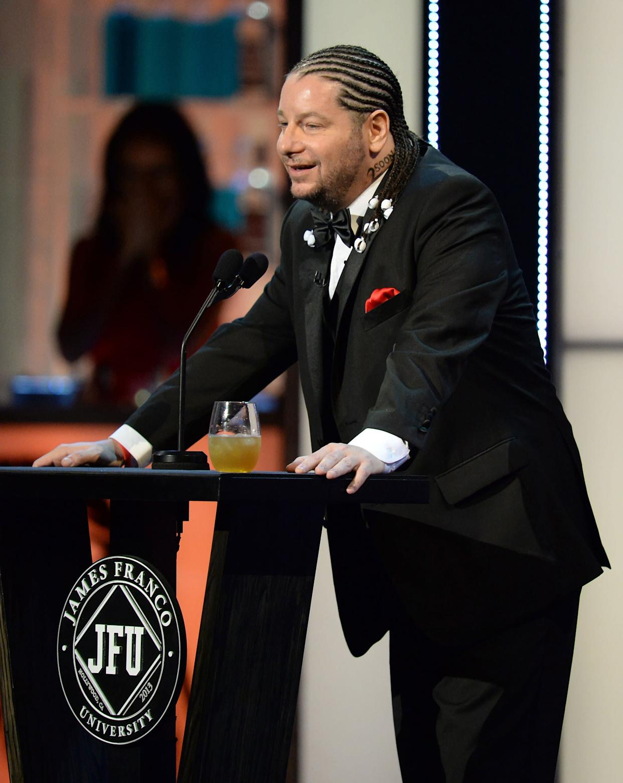CULVER CITY, CA - AUGUST 25: Comedian Jeffrey Ross speaks onstage during The Comedy Central Roast of James Franco at Culver Studios on August 25, 2013 in Culver City, California. The Comedy Central Roast Of James Franco will air on September 2 at 10:00 p.m. ET/PT. (Photo by Jason Merritt/Getty Images for Comedy Central)