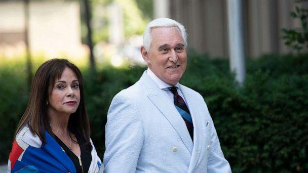 PHOTO: Roger Stone, a longtime confidant of President Donald Trump, accompanied by his wife Nydia Stone, left, arrives at federal court in Washington on July 16, 2019.  (Sait Serkan Gurbuz/AP)