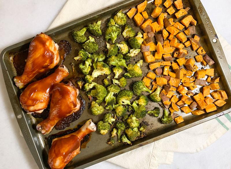 sheet pan bbq chicken dinner on a marble counter