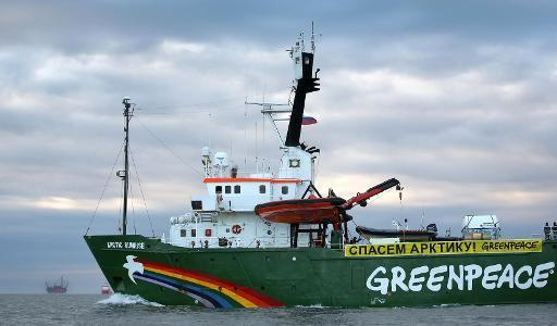 Greenpeace's Arctic protest ship the Arctic Sunrise pictured on September 17, 2013 somewhere off Russia's north-eastern coast in the Pechora Sea