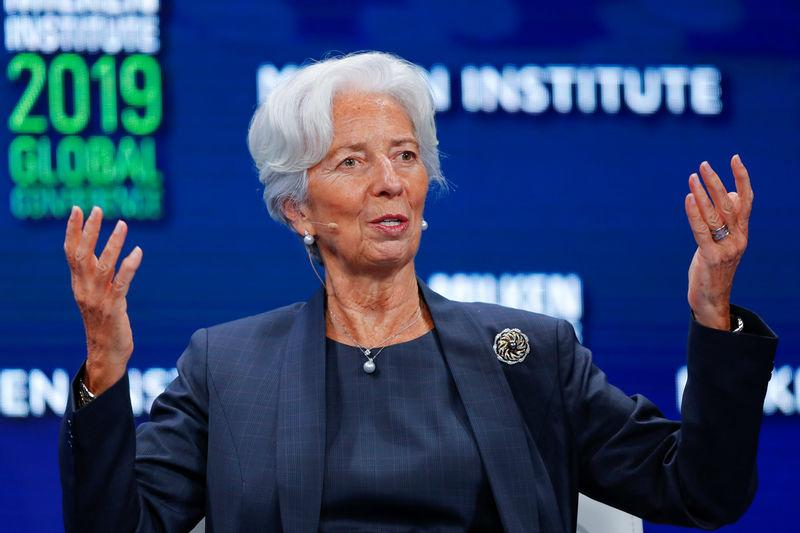 Christine Lagarde, Managing Director and Chairwoman of the International Monetary Fund speaks during the Milken Institute's 22nd annual Global Conference in Beverly Hills