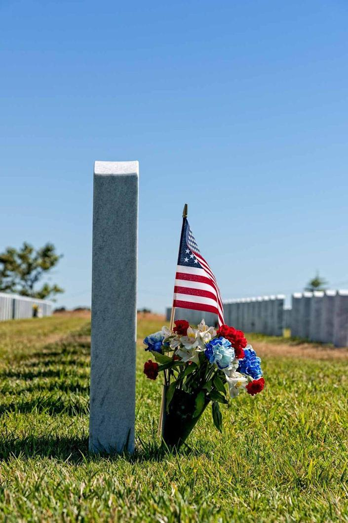 """<p>If there isn't a veteran cemetery near you, you can sponsor flowers through the foundation <a href=""""https://www.memorialdayflowers.org/"""" rel=""""nofollow noopener"""" target=""""_blank"""" data-ylk=""""slk:Memorial Day Flowers"""" class=""""link rapid-noclick-resp"""">Memorial Day Flowers</a> and its volunteers will lay your blooms and hundreds of others at veterans' grave sites in 40 cemeteries nationwide (starting at $5).</p>"""