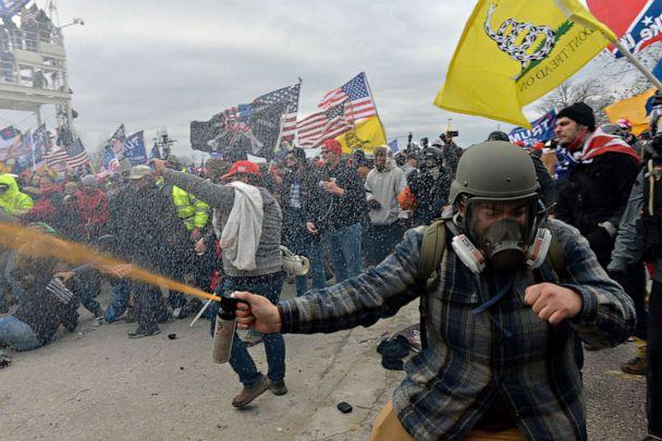 PHOTO: Trump supporters clash with police and security forces as people try to storm the US Capitol Building in Washington, on Jan. 6, 2021. (Joseph Prezioso/AFP via Getty Images)